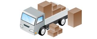 たくさんの荷物に小型トラックのイラスト